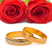 Roses and wedding rings — Stock Photo