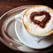 Cappuchino with heart love - Stock Photo