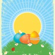 Easter greeting card with color eggs.Vector vintage background - Stock Vector