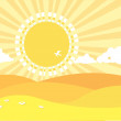 ������, ������: Natural background with summer landscape Vector cartoons