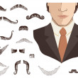 Mustaches for man.Vector collection on white for design — Stock Vector