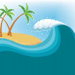 Big wave near tropical island.Vector water background — Stock Vector #5425306