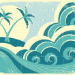 Sea waves and island. Vector vintage graphic illustration of wat - Stock Vector