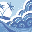 Sea waves and island. Vector graphic illustration of water seasc — Stock Vector