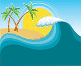 Big wave near tropical sun island.Vector water background — Stock Vector