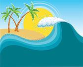 Big wave near tropical sun island.Vector water background — Stock Vector