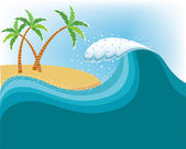 Big wave near tropical island.Vector water background — Stock Vector