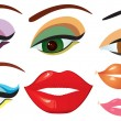 Royalty-Free Stock Vector Image: Vector eyes and lips for design on white