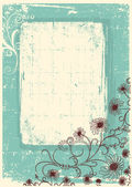 Vintage floral background with grunge decor frame for text — Stock Vector