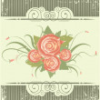 Vintage background with roses.Retro card on old texture - Stock Vector