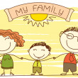 FAmily on white.Vector happy parents and text. — Stockvector