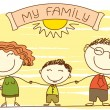 FAmily on white.Vector happy parents and text. - Stock Vector