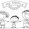 FAmily on white.Vector happy parents and son - Stockvectorbeeld