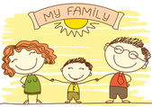 FAmily on white.Vector happy parents and text. — Stock Vector