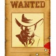 Постер, плакат: Wanted poster background with portrait of bandit for design on w