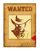 Wanted poster background with portrait of bandit for design on w — Stock Photo