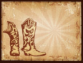 Cowboy old paper background for text with decor frame . — Stock Photo
