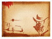 POster with western elements on old paper background.Retro — Stock Photo