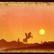 Desert Sunset with Cactus in sunset on old vintage paper backgro — Stock Photo