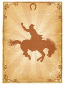 Cowboy old paper background for text with decor frame .Retro rodeo poster — Stock Photo