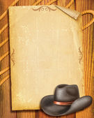 Cowboy Old paper background with hat for text — Stock Photo