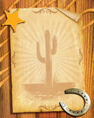 Cowboy style.Old paper background with sheriff star and horsesho — Stock Photo
