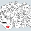 Nice girl with curly hair and red mouth.Vector Illustration — 图库矢量图片