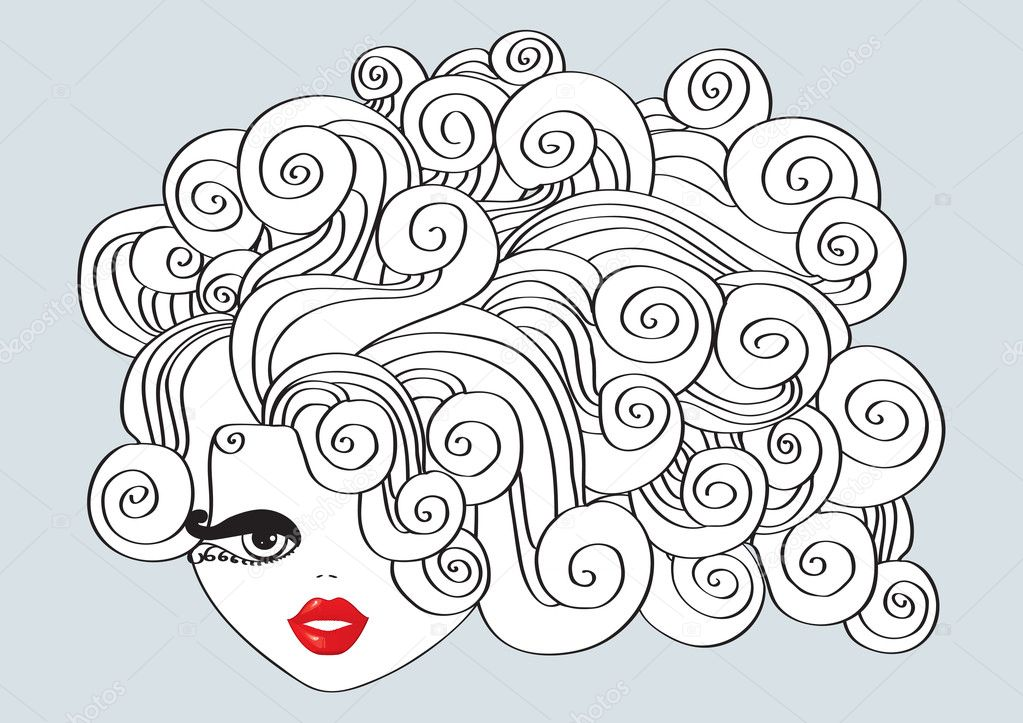 Nice girl with curly hair and red mouth.Vector Illustration — Stock Vector #5601078