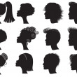 Hairstyles - vector black silhouettes — Stock Vector