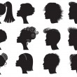 Royalty-Free Stock Vector Image: Hairstyles - vector black silhouettes
