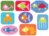 Applique fabric with cartoons water animals.Vector fishes on whi — Stock Vector