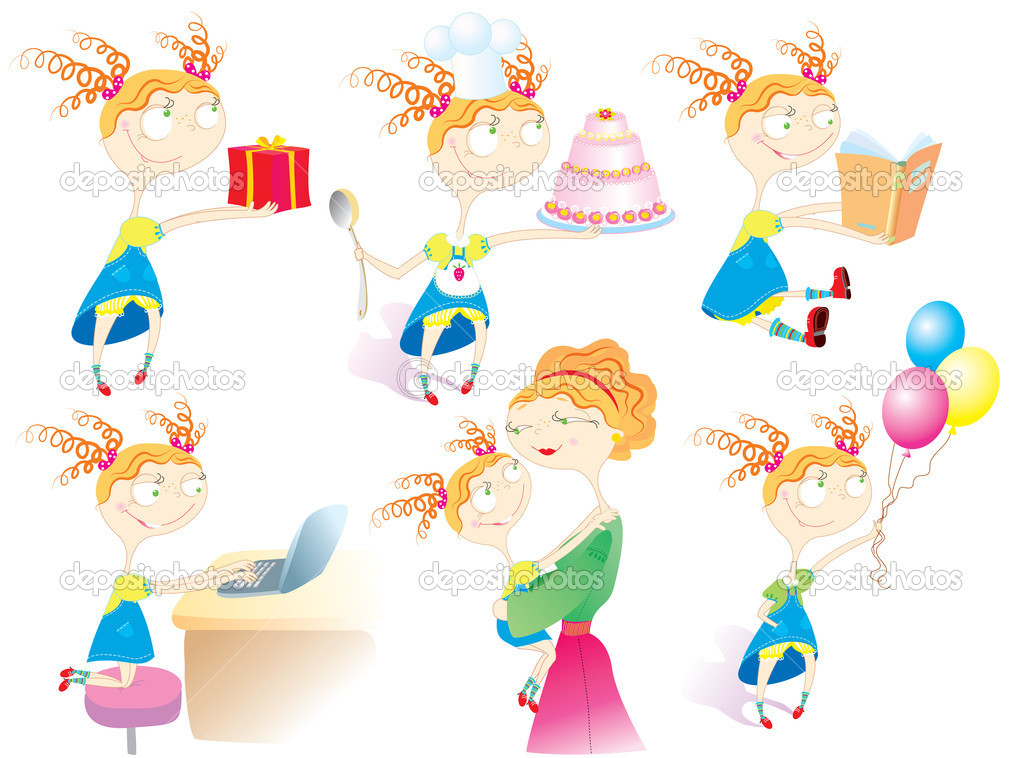 Babby's life.Cartoon girl in different situations.  Stock Vector #5639722