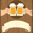 HAnds with glasses of beer who toast. — Stock Vector