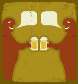 Two men with glasses of beer who toast.Grunge — Stock Vector