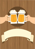 HAnds with glasses of beer who toast. — Cтоковый вектор