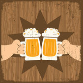 Two men with glasses of beer who toast.Vector grunge poster — Stock Vector