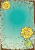 Sunflowes-.vector-Ansichtskarte mit Grunge-Elemente — Stockvektor