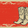 Cowboy boots .Vector graphic image with grunge background for t — Stock Vector #5786220