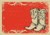 Cowboy boots .Vector graphic image with grunge background for t — Stok Vektör