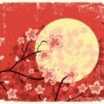 Flowing Sakura tree.Grunge image — Stock Vector
