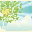 Sun rays in green leaves.Vintage — Stock Vector