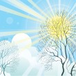 Stock Vector: Sun rays and tree