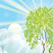 Sun rays and tree — Stock Vector
