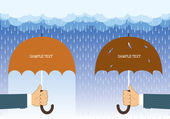 Hands holding umbrellas under big rain.Vector background for tex — Stock Vector