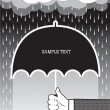 Hand holding umbrella under big rain.Vector background for text — Stock Vector