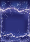 Lightning strike on dark blue frame background .Mesh — Stock Vector