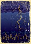 ударов молнии и дождь в большом городе.винтаж — Cтоковый вектор