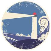 Lighhouse in sea landscape.Vector vintage illustration — Stock Vector