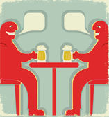 Two men with glasses of beer who toast.Vintage Poster — Stock Vector