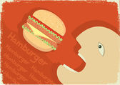 Vector man eating big hamburger. Vector grunge poster — Stock Vector